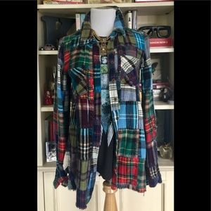 Free People Lost In Plaid Patchwork Flannel Shirt